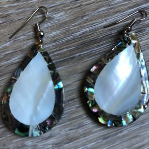 Gorgeous abalone and mother of pearl tear earrings